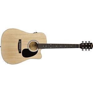 Fender 0930307021 SA-105CE Dreadnought Cutaway Electric Guitar – Natural